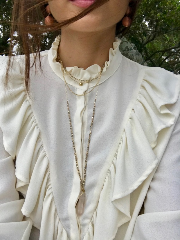 Zara ruffled blouse with layered necklace