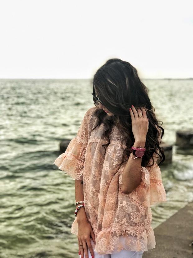 Blush Pink Lace Blouse