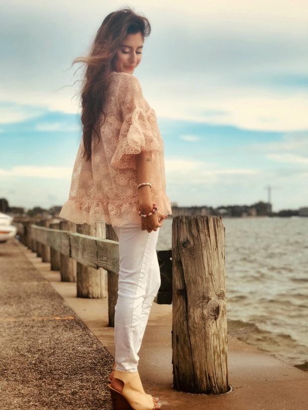 Blush Pink Lace women's top fahsion