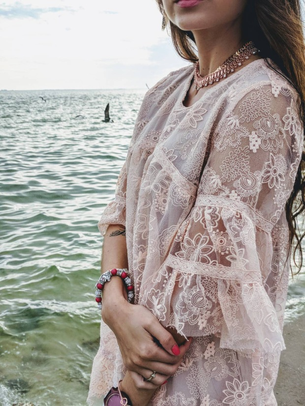 pink lace tops fashion