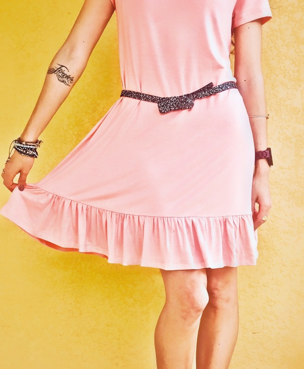 Whimsical pink fashion dress for spring fashion