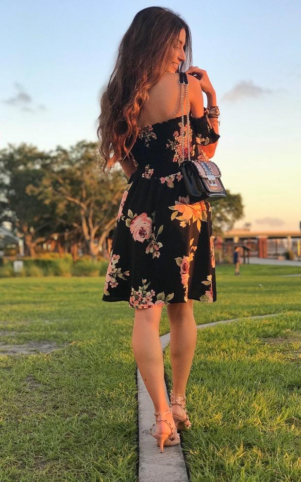 Women Spring off the shoulder floral dress